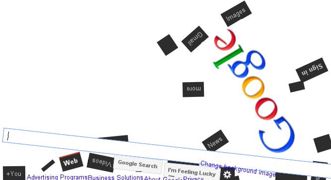Google Gravity - Сайт Google зруйновано! :)
